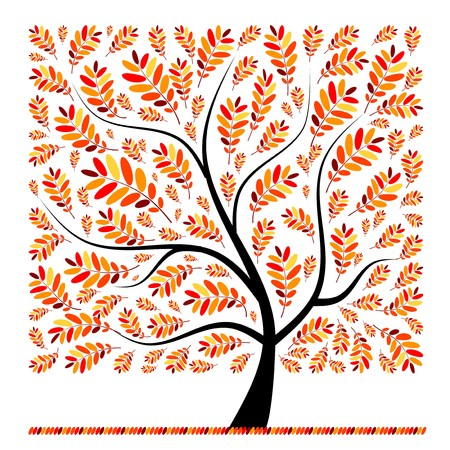 falling leaves: Beautiful autumn tree for your design