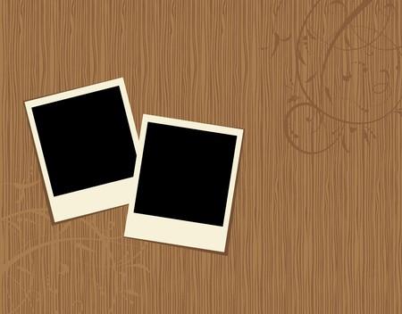 grunge photo frame: Due cornici foto sullo sfondo in legno