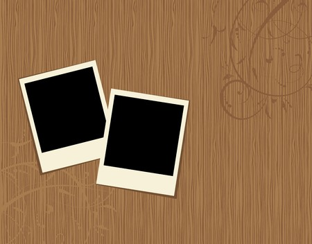 table decoration: Two photo frames on wooden background  Illustration