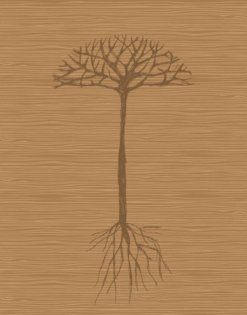 Art tree with roots on wooden background  Vector