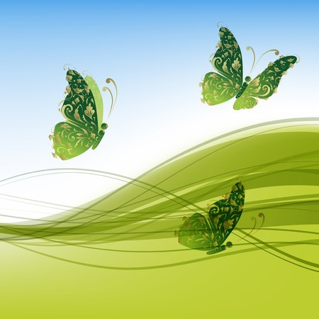 green swirl: Green background with beautiful butterflies for your design