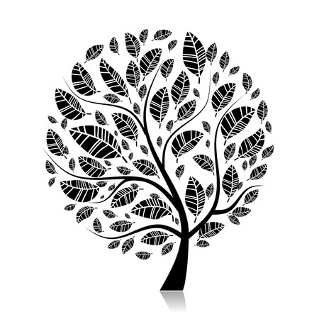 Art tree beautiful for your design  Illustration