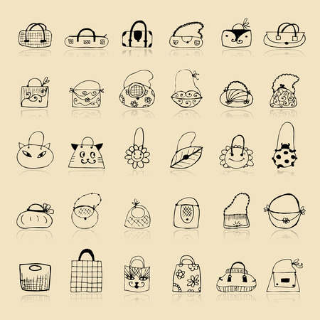 Collection of bags, sketch drawing for your design Stock Vector - 8014759