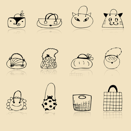 Collection of bags, sketch drawing for your design Stock Vector - 8014753