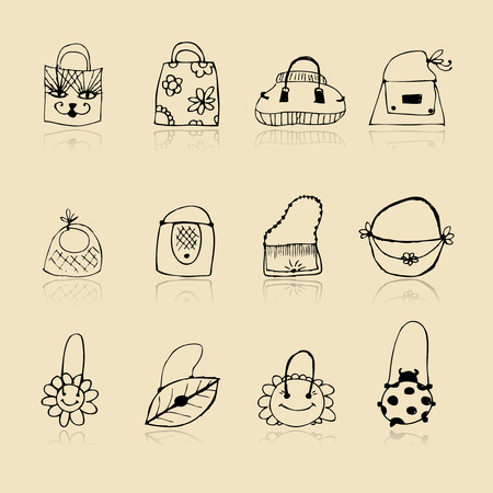 Collection of bags, sketch drawing for your design Vector