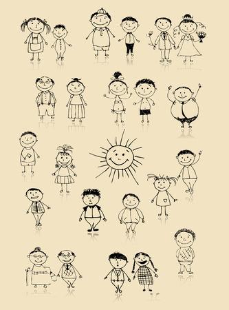 tanzen cartoon: Gl�cklich gro�e Familie zusammen l�chelnd, Zeichnung, Skizze