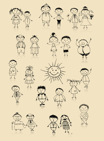 cartoon sun: Happy big family smiling together, drawing sketch