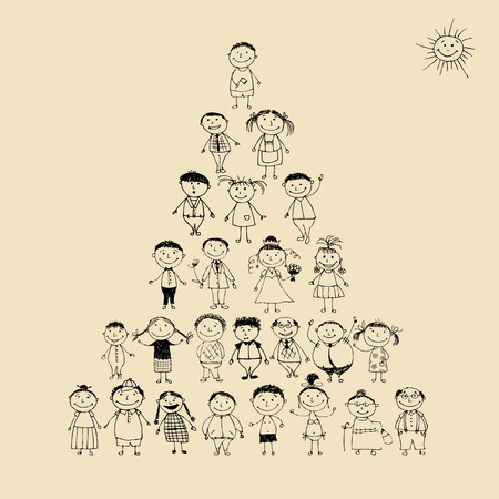testvérek: Funny pyramid with happy big family smiling together, drawing sketch
