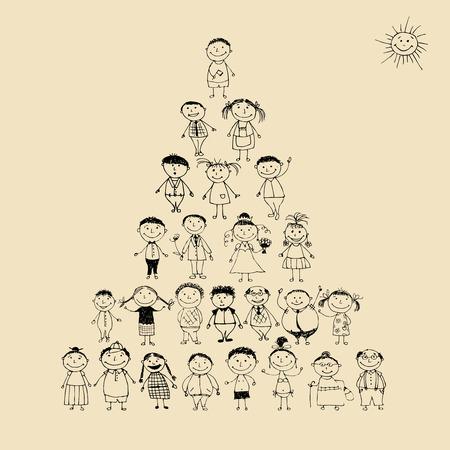 Funny Pyramide mit happy big Family smiling together, Zeichnung, Skizze Vektorgrafik