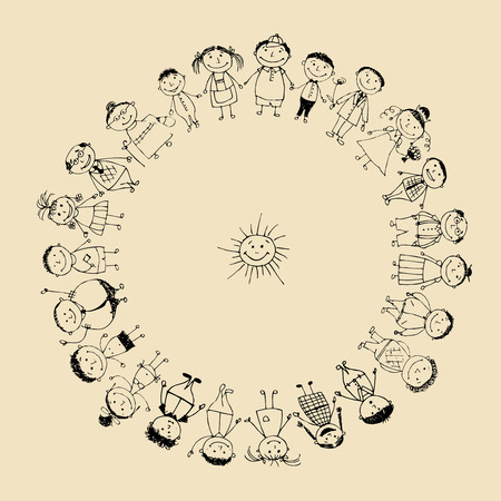 Happy big family smiling together, drawing sketch  Stock Vector - 8014760