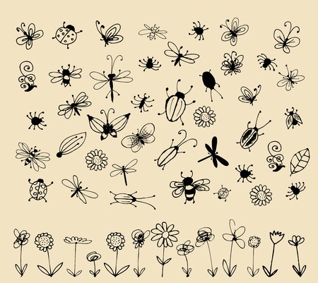 centipede: Insect sketch collection for your design Illustration