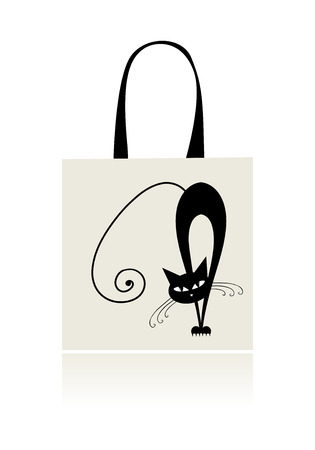 Black cat graceful, design of shopping bag Vector