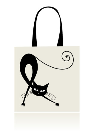 Black cat graceful, design of shopping bag Vector