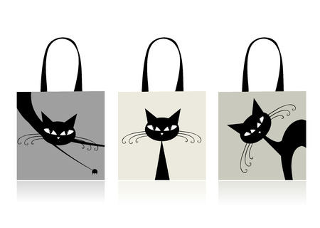 Black cats graceful, design of shopping bags Stock Vector - 8014737