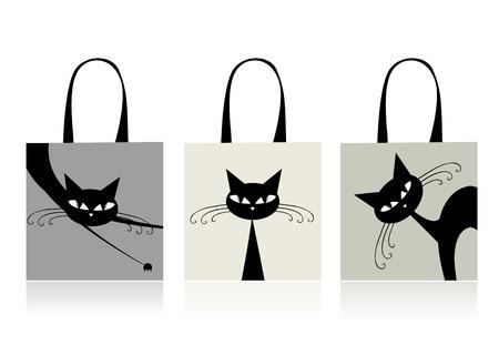 silueta de gato: Gatos negros gracioso, dise�o de bolsas de la compra