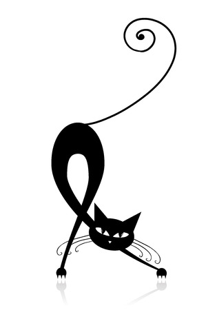 Graceful black cat silhouette for your design Stock Vector - 8014733