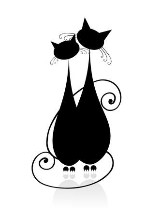 ?ouple gatti seduta silhouette insieme, nero per la progettazione