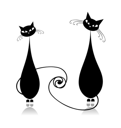 �ouple cats together, black silhouette for your design Vector