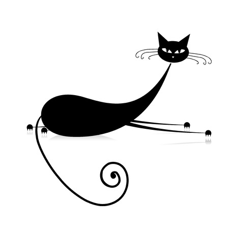pussycat: Graceful black cat silhouette for your design