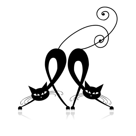 Two graceful black cats, silhouette for your design Vector