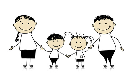 black family: Happy family smiling together, drawing sketch