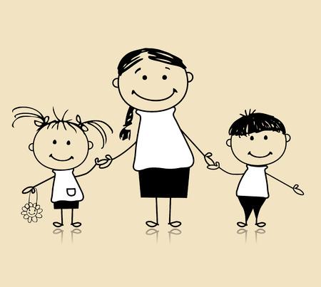 papa y mama: Esbozo de la familia feliz sonriente juntos, madre y los ni�os, de dibujo