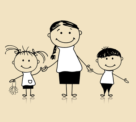 mom daughter: Happy family smiling together, mother and children, drawing sketch Illustration