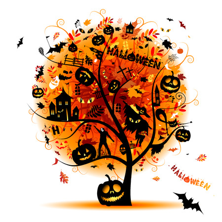 Halloween night party, concept tree for your design Vector