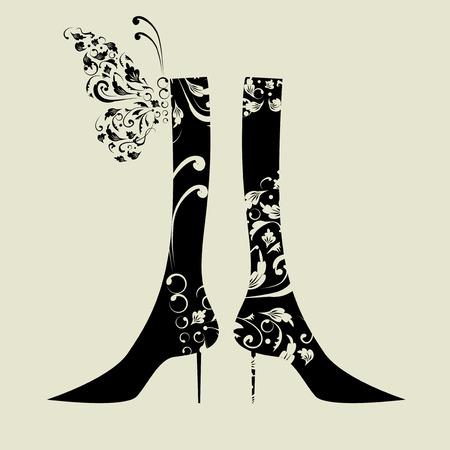 individualit�: Design di moda femminile scarponi con ornamento floreale Vettoriali