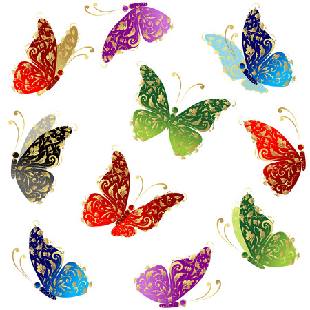 ornamental background: Beautiful art butterfly flying, floral golden ornament Illustration