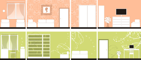 Interior design of rooms, all walls Vector