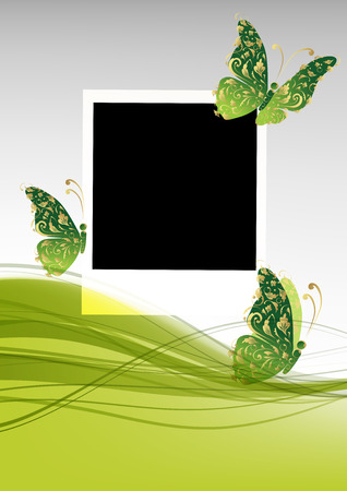 Green background with beautiful butterflies, insert your photo Vector