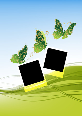 Green background with beautiful butterflies, insert your photos Vector