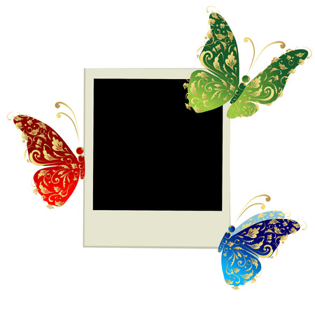 black picture frame: Photo frame design with butterfly decoration