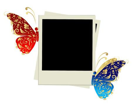 photo album page: Dise�o de marco de foto con decoraci�n de mariposa