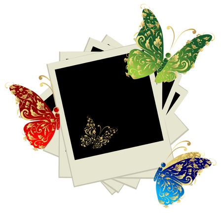 Pile of photos, insert your pictures into frames, butterfly decoration Vector