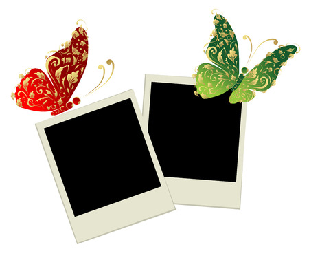 Two photo frames with butterfly decoration Vector