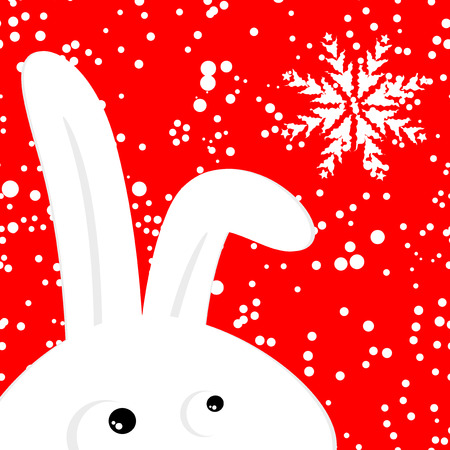 Funny rabbit on red christmas snowing background Vector