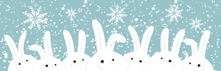 Rabbits on christmas winter background Vector