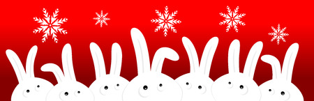 Funny rabbits on red christmas background Vector