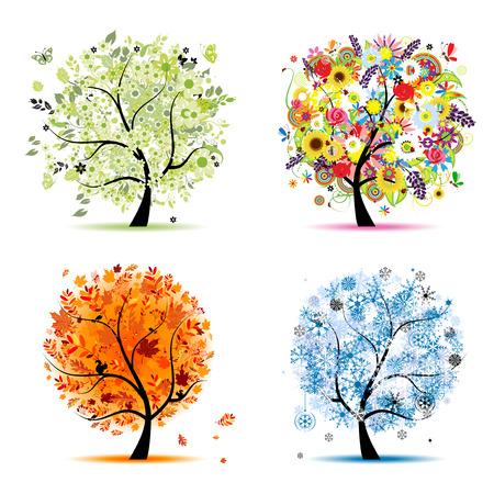 arboles de caricatura: Cuatro temporadas - primavera, verano, oto�o, invierno. �rbol de arte hermoso para el dise�o
