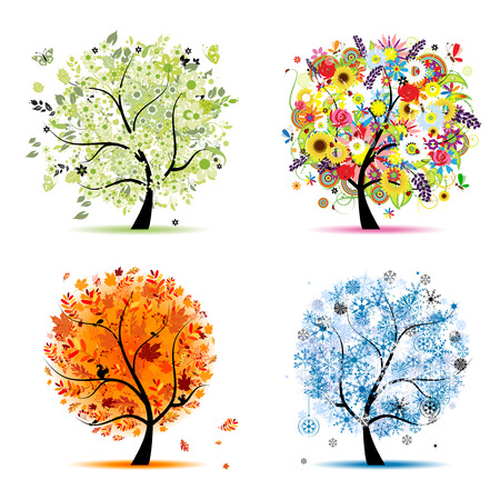 Four seasons - spring, summer, autumn, winter. Art tree beautiful for your design Vector