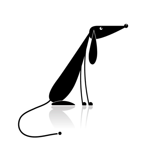 back of leg: Funny black dog silhouette for your design