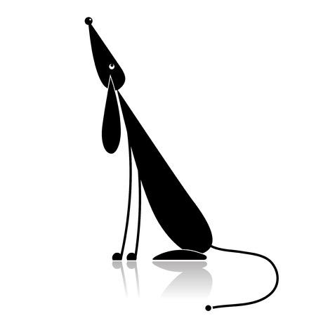 dogs sitting: Silueta de divertido perro negro para el dise�o