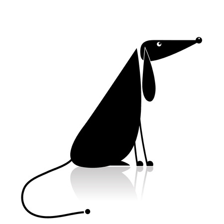 Funny black dog silhouette for your design Stock Vector - 8099002