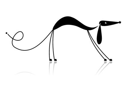 犬歯: あなたのデザインの面白い黒犬シルエット  イラスト・ベクター素材