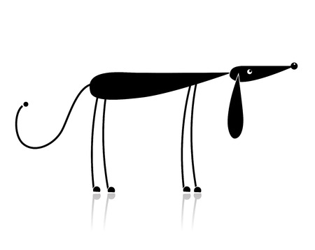 Funny black dog silhouette for your design Stock Vector - 8099012