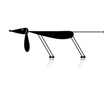 animal leg: Silueta de divertido perro negro para el dise�o