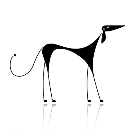 Funny black dog silhouette for your design Reklamní fotografie - 8099026
