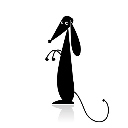 hound dog: Funny black dog silhouette for your design